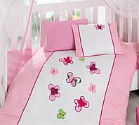 Детское постельное белье  с вышивкой Cotton Box Kelebek Pembe