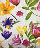 Сатин с крупными разноцветными акварельными цветами на белом фоне