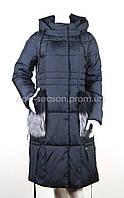 Пуховик женский с мехом на карманах Batter Flei 057
