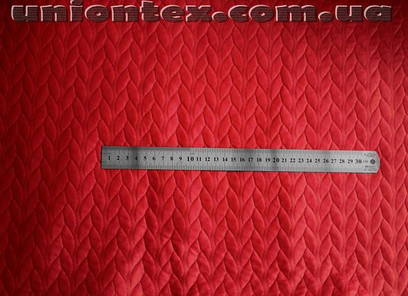Стеганный трикотаж кожа косичка (красный) , фото 2