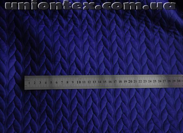 Стеганный трикотаж кожа косичка (электрик) , фото 2