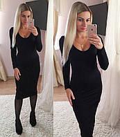 Черное платье миди трикотаж, фото 1