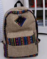 Мужской рюкзак холст. Женская сумка портфель орнамент этно. Городской рюкзак.  СС5