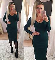 Зеленое платье миди трикотаж