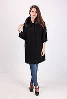 Стильное пальто из кашемира с меховым воротником 060 черный