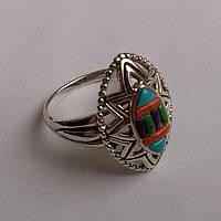 Серебряное кольцо с разноцветной бирюзой