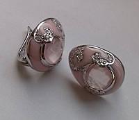 Серьги с розовым кварцем (8мм) и эмалью