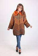 Красивое кашемировое пальто с принтом в полоску 391 коричневый
