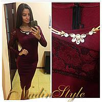Платье с рукавами из гипюра и украшением разные цвета SMd717