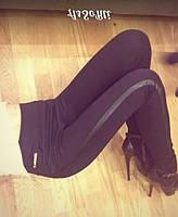 Женские брюки-лосины с кожанными вставками, черные / женские кожанные лосины леггинсы