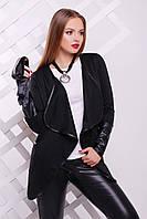 Женский кардиган черного цвета с кожаными вставками