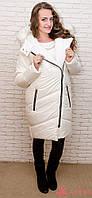 Женская зимняя дутая удлиненная куртка, искусственный мех