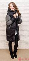 Женское теплое пальто oversize комбинированное твидом