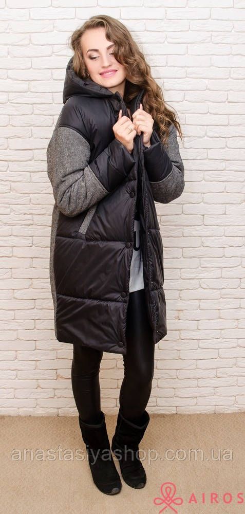 48f4b2c5cf7 Женское теплое пальто oversize комбинированное твидом -