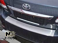 Накладка на задний бампер на Тойота Авенсис с 2009> седан (нерж) с загибом Nata Nico.