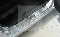 Защитные хром накладки на пороги Honda Civic VIII 4D (хонда цивик 8 2006-2013)