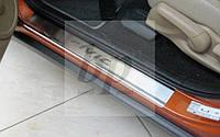 Защитные хром накладки на пороги Honda Civic VIII 5D (хонда цивик 8 хэтчбек 2005-2011)