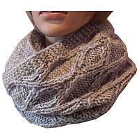 Вязаный шарф - снуд серебристо - серого цвета