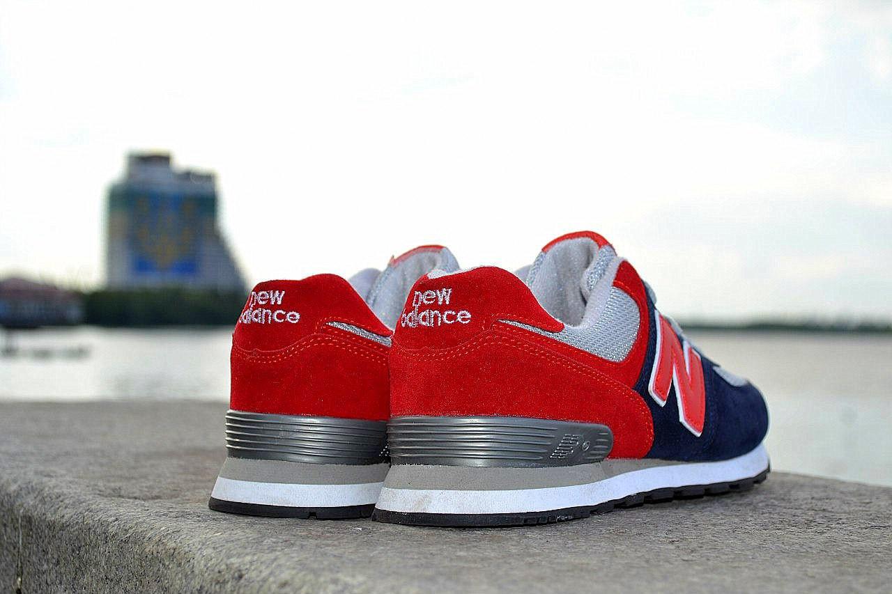 Кроссовки New Balance замшевые, красно-синие