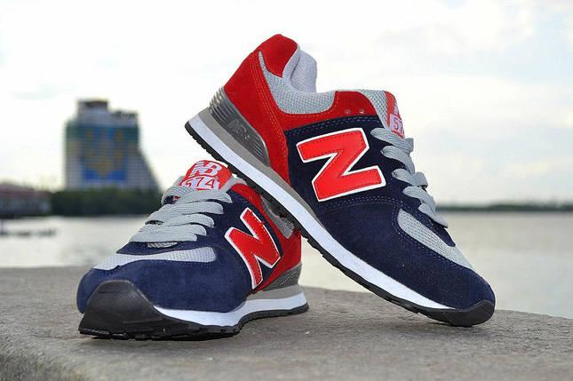 Кроссовки New Balance замшевые, красно-синие, фото 2
