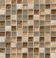 Бежевая мозаика из натурального мрамора и стекла Vivacer DAF1