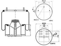 Пневмоподушка со стаканом BPW36K Vibracoustic V 1 DK 32 KX 11