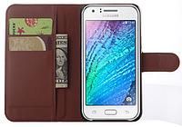 Кожаный чехол-книжка для Samsung Galaxy J5 J500 коричневый