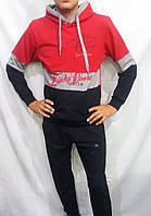Мужской спортивный костюм красный с синим кофта кенгуру
