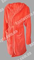 Женский махровый однотонный халат короткий