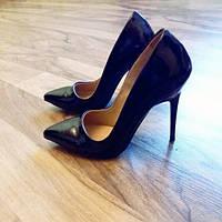 Черные  лаковые туфли лодочки код 4