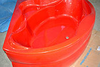 Ванна акриловая угловая КМТ Релакс 4мм 150 X 150 с ножками и панелью Красная