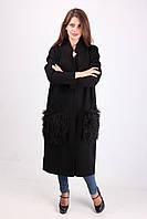 Длинное женское пальто из кашемира с меховыми карманами 8805 черный