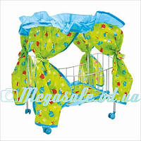 Детская кроватка на колесиках для кукол с балдахином в комплекте: подушка+ матрасик, 60х29х56см