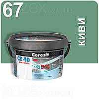 2кг.Ceresit CE 40 aquastatic Эластичный водостойкий цветной шов Киви 67