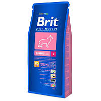 Корм Brit Premium Junior L для щенков и молодых собак крупних пород. Упаковка 15 кг