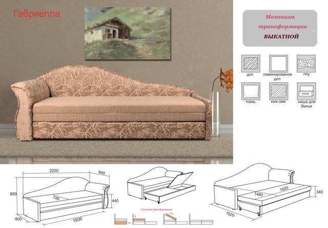Диван кровать Габриэлла (характеристики)