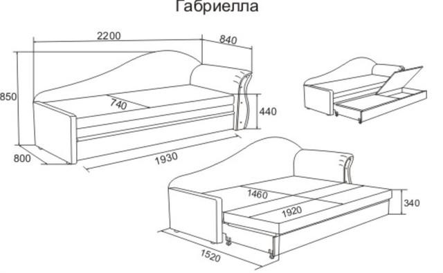 Диван кровать Габриэлла (размеры)