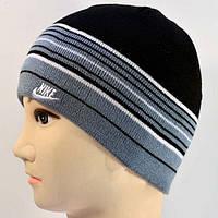 Черно-серая мужская шапка