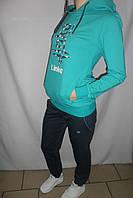 Женский спортивный костюм бирюза с капюшоном