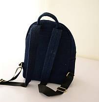 Молодежный джинсовый рюкзак с нашивками и заклепками, фото 2