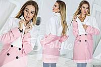 Яркое женское пальто - накидка двухцветное