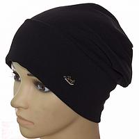 Черная женская трикотажная шапка