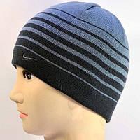 Полосатая вязаная мужская шапка