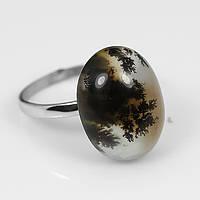 Коллекционный камень. Кольцо с дендрическим опалом (18х14мм)