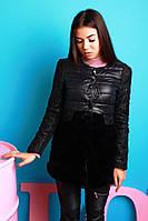 Теплое женское демисезонное пальто на рукавах кружево, низ искусств. кролик, черное