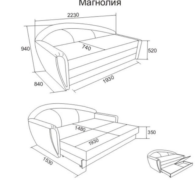 Диван кровать Магнолия (размеры)
