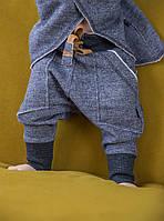 Штаны с начесом и высоким манжетом. Унисекс. Расцветка под джинс. Размеры: 98, 104 см, фото 1