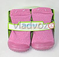 Детские носки с подошвой для девочки 8 (24 месяцев) розовые 13.5 см-14.5 см.