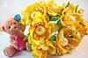 Цветы с жемчуженой  4см желтого цвета 1шт