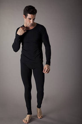 ,,,Термо-подштанники кальсоны мужские теплые с ширинкой, кофта в подарок !! Стретч-флис,черный 180-190рост, фото 2